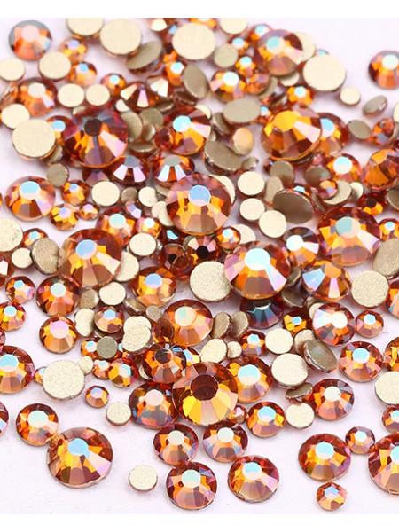 Стразы Crystal amber,стекло (Упаковка 1440 шт., размеры mix ss3-ss20)
